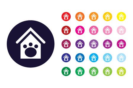 Icono de signo de casa de perro. Símbolo de color de la casa de perro.