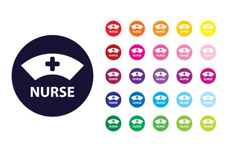 Icône de signe d'infirmière. Symbole de couleur d'infirmière. Vecteurs