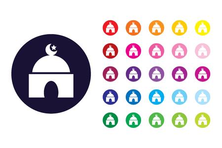 Masjid sign icon. Masjid color symbol. Vektoros illusztráció