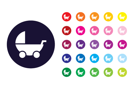 Baby stroller sign icon. Baby stroller color symbol.