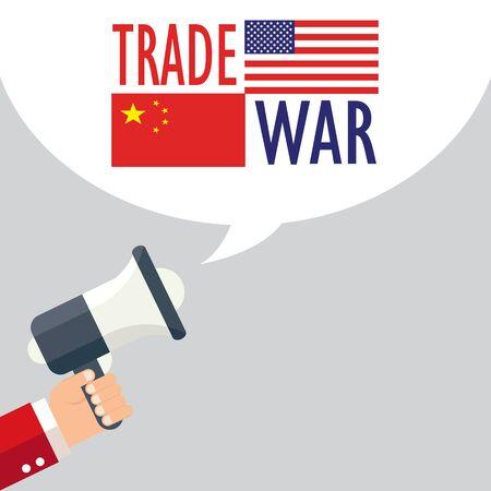 Trade war, USA versus China. America-China tariff business global exchange international. Illusztráció