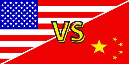Trade war, USA versus China. America-China tariff business global exchange international. Vettoriali