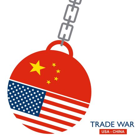 Trade war news, USA versus China. America-China tariff business global exchange international.