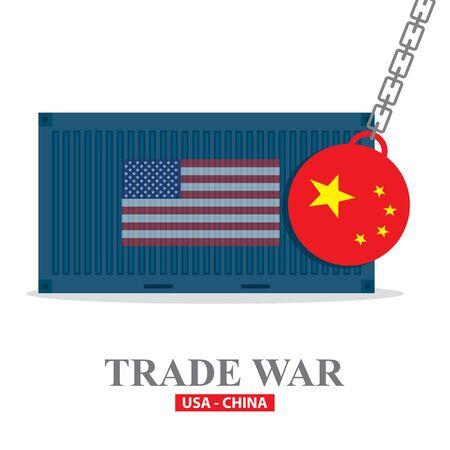 Trade war, USA versus China illustration. America-China tariff business global exchange international.