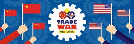 Trade war, USA versus China. America-China tariff business global exchange international. Vettoriali