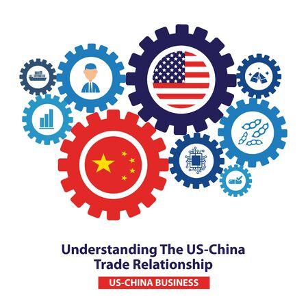 Trade war, USA versus China. America-China tariff business global exchange international. 일러스트