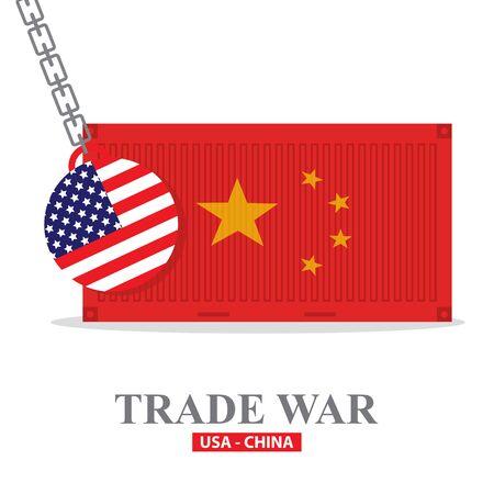 Trade war, USA versus China. America-China tariff business global exchange international. Illustration