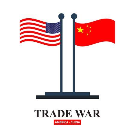 Handelskrieg USA gegen China. Amerika-China-Tarifgeschäft globaler Austausch international.