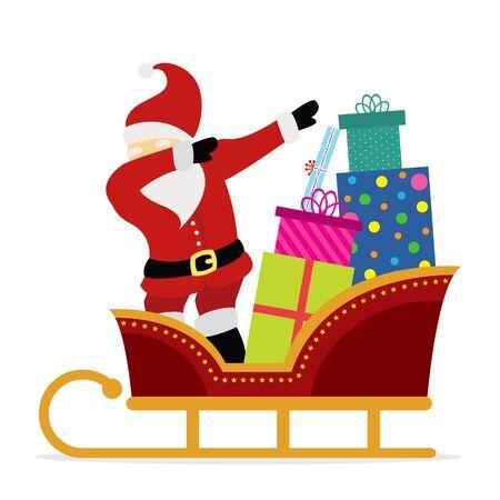 Dabbing Santa Claus cartoon vector. Banque d'images - 128656659
