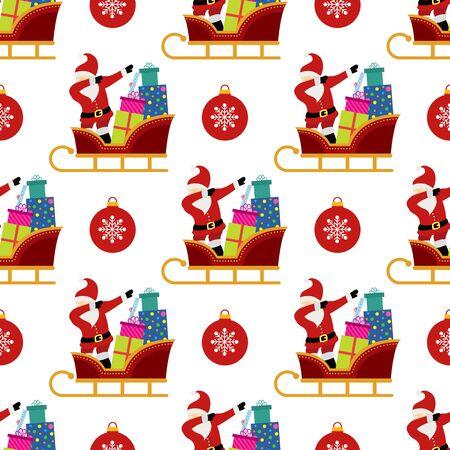 Dabbing Santa Claus seamless background. Illustration