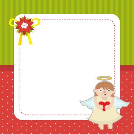 Christmas card template with angel. Иллюстрация
