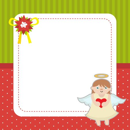 Christmas card template with angel. Illustration