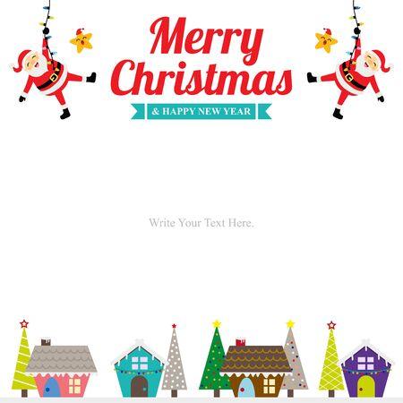 Christmas card template with Santa Claus. Иллюстрация