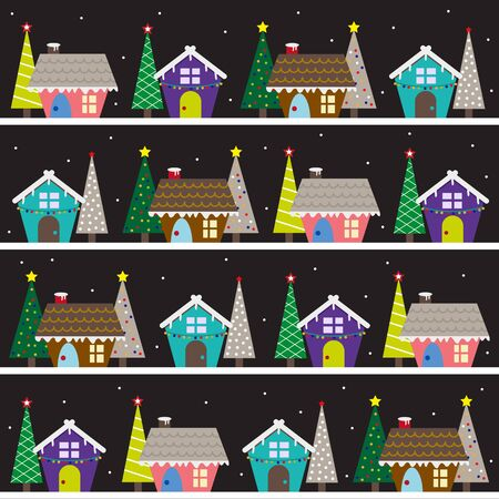 Christmas town with christmas tree background.