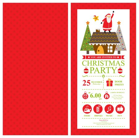 Christmas card invitation template with Santa Claus. Illustration