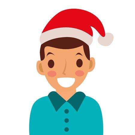 Avatar men icon with Santa hat.