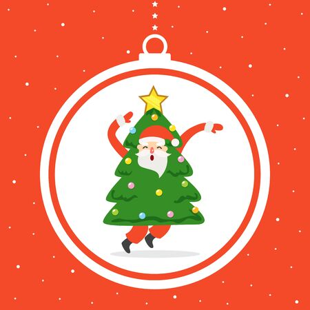 Christmas greeting card with Santa Claus. Stock Illustratie
