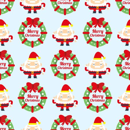 Christmas wreath and Santa Claus seamless background.