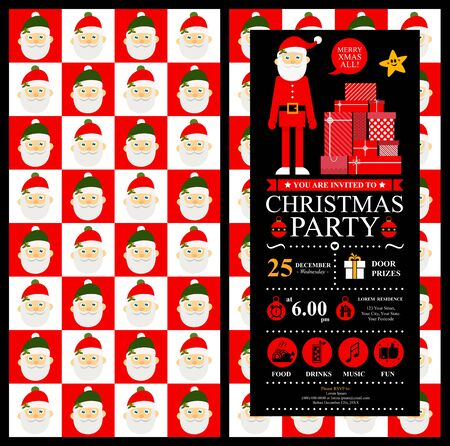 Christmas card invitation template with Santa Claus. Stock Illustratie