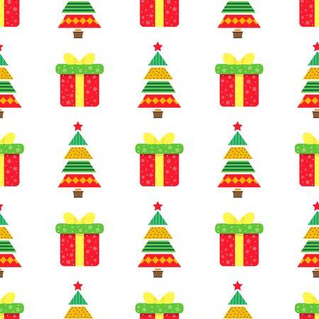 Christmas tree seamless background.