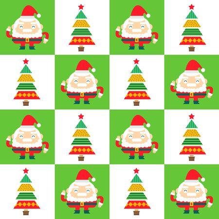 Santa Claus and Christmas tree seamless background. Stock Illustratie