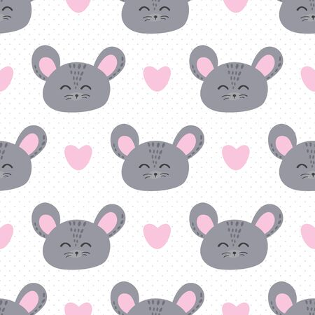 Mouse and love seamless background. Stock Illustratie