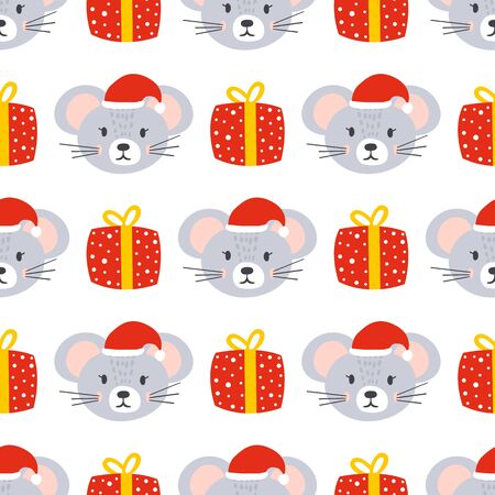Santa mouse and gift seamless background. Stock Illustratie