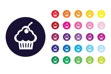 Cupcake sign icon. Cupcake color symbol.