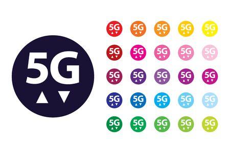 5G sign icon. 5G color symbol.