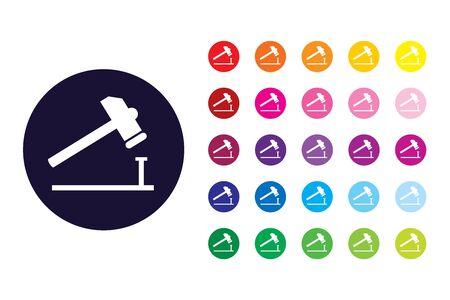 Hammer and nail sign icon. Hammer and nail color symbol.
