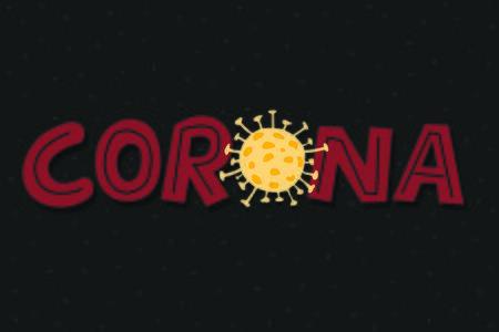 Coronavirus text banner. Covid-19 virus text images. Stock Illustratie