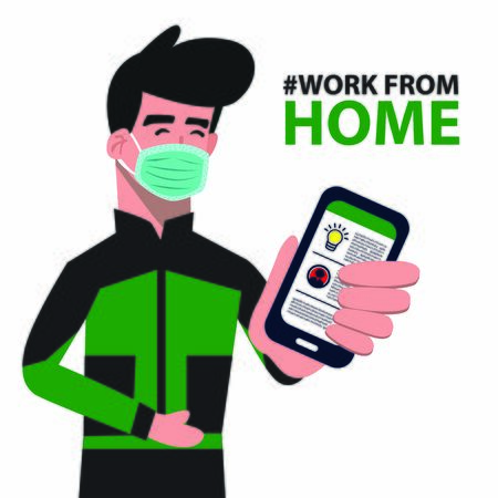 Work from home illustration. Work from home vector.