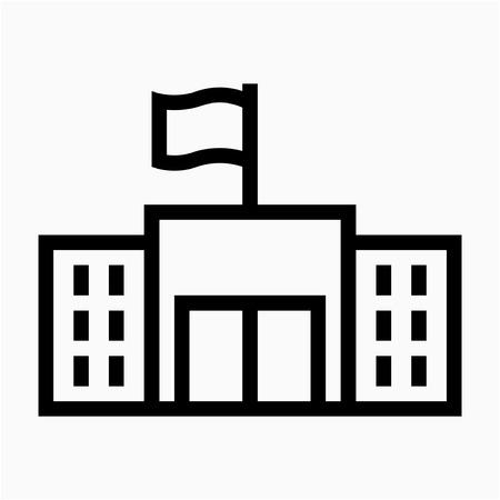 Skizzieren Sie die perfekte Vektorikone des Regierungsgebäudes Pixel