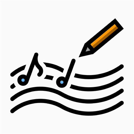 Icono de vector perfecto Flat Song composer pixel