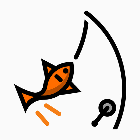 Flat fishery pixel perfect vector icon