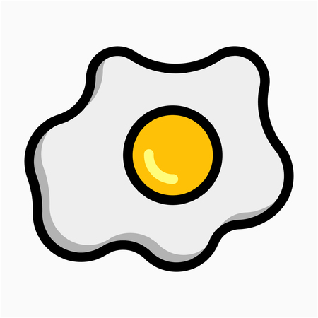 Coloured outline omelet pixel perfect vector icon