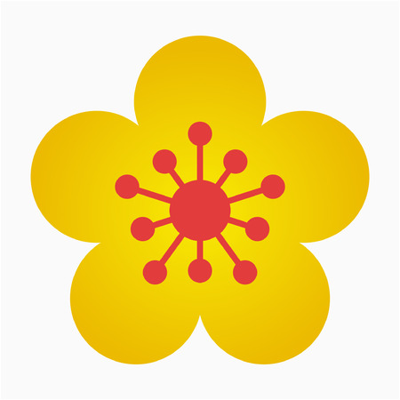 Flat Apricot Blossom flower pixel perfect vector icon