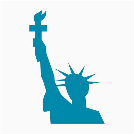 Flat Statue Liberty in US New York pixel perfect vector icon