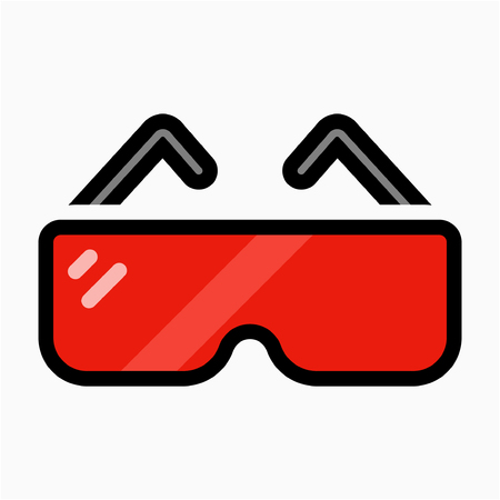 Coloured outline safety glasses pixel perfect vector icon Ilustração Vetorial