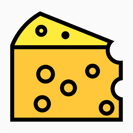 Coloured outline cheese pixel perfect vector icon Çizim