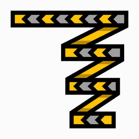 Coloured outline Hazard tape pixel perfect vector icon
