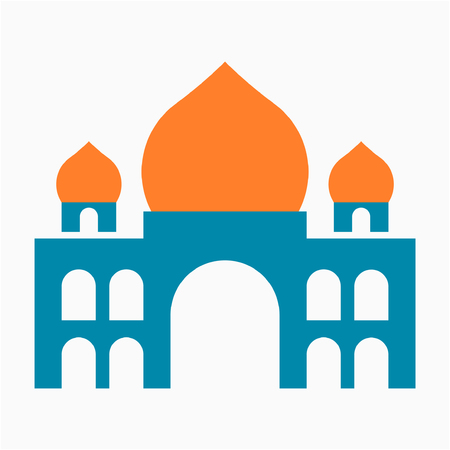 Flat Taj Mahal mausoleum pixel perfect vector icon  イラスト・ベクター素材