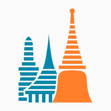 Flat Wat Phra Kaew in Bangkok Thailand pixel perfect vector icon