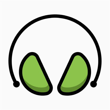 Coloured outline earmuffs pixel perfect vector icon Çizim