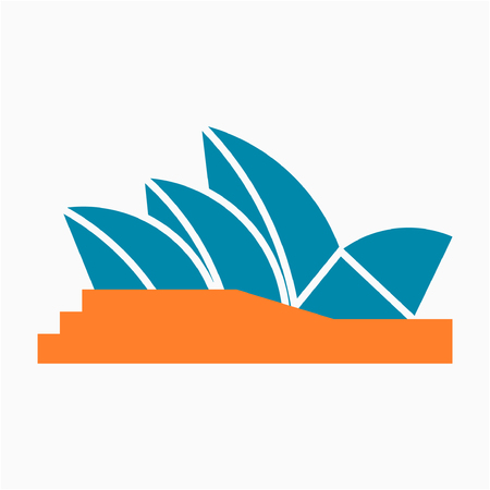 Flat Sydney Opera House pixel perfect vector icon Illustration
