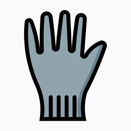 Coloured outline safety glove pixel perfect vector icon