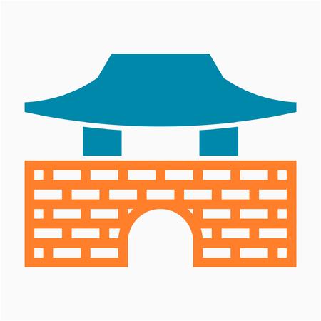 Flat Namhansanseong Seoul Korea pixel perfect vector icon