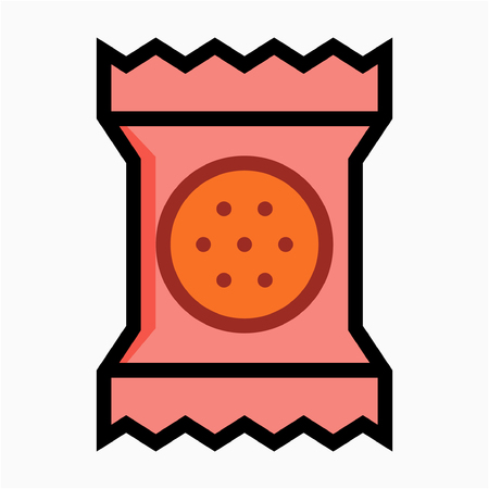Coloured outline Packaged cracker pixel perfect vector icon Illustration