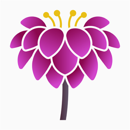 Flat Dahlia flower pixel perfect vector icon