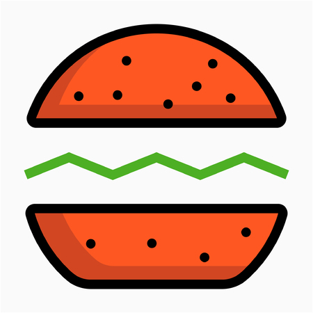 Coloured outline hamburger pixel perfect vector icon